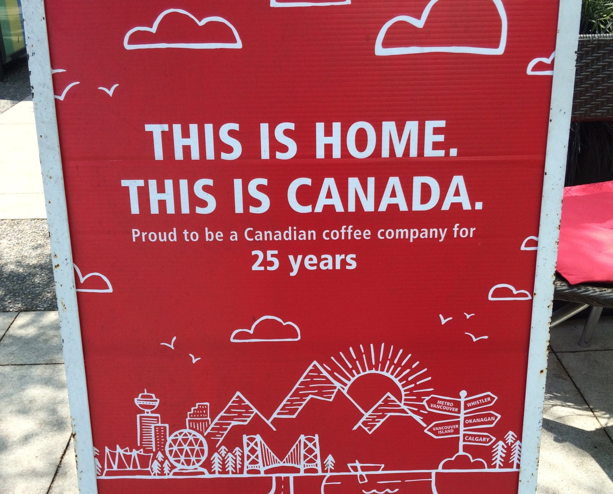 Patriotic Blenz Coffee advertisement in Vancouver