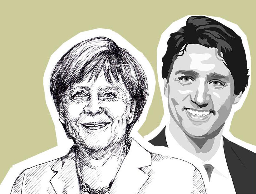 Angela Merkel and Justin Trudeau