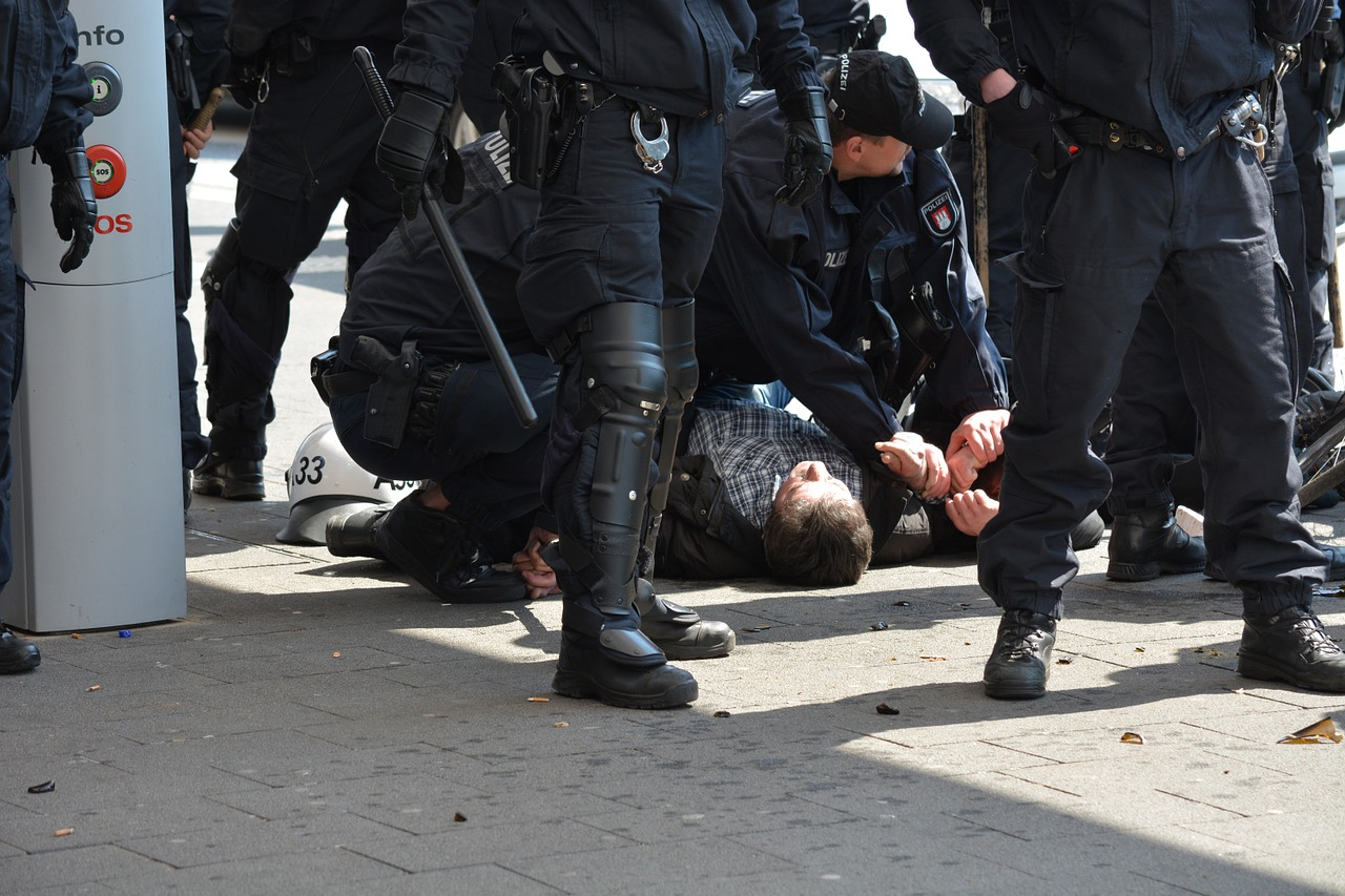 Protestor gets arrested on Labour Day, Hamburg, Germany.